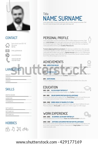 Vector Original Minimalist Cv Resume Template Stock Vector (Royalty ...