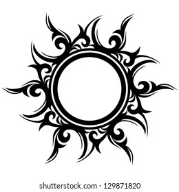 Vector ornament, abstract sun, flower. Tattoo.