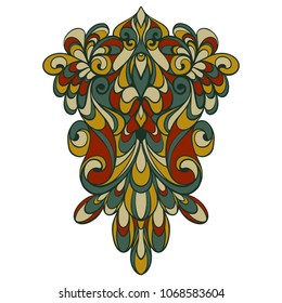 Vector ornament in calm olive-green and clay-red colors. Decorative isolated pattern on white background hand drawn in Doodle style. Vector design with art Nouveau elements. Elegant abstract graphics.