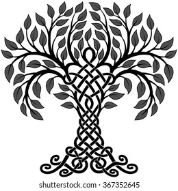 Vector ornament, decorative black and white Celtic tree of life with grey leaves
