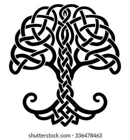 Vector ornament, decorative Celtic tree of life