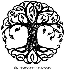 Vector ornament, decorative Celtic tree of life