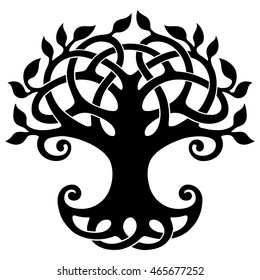 Vector ornament, decorative Celtic tree of life, black and white graphics