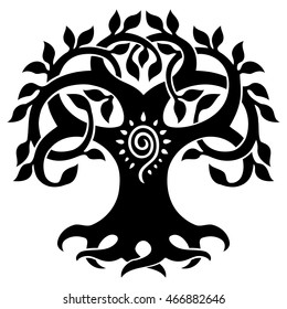 Vector ornament, decorative Celtic tree of life, back and white graphics