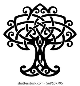 Vector ornament, decorative Celtic tree of life with knots and curls