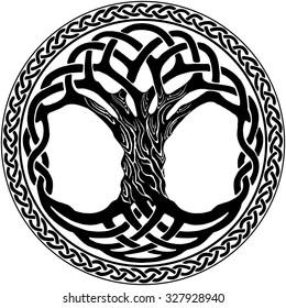 Vector ornament, decorative round Celtic tree