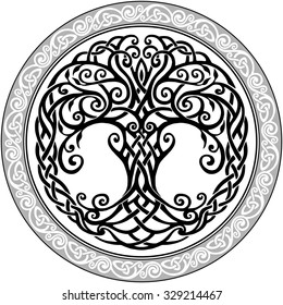 Vector ornament, decorative round Celtic tree of life
