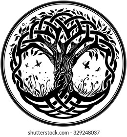 Vector ornament, decorative round Celtic tree of life