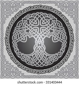 Vector ornament, decorative round celtic tree of life with celtic frame border