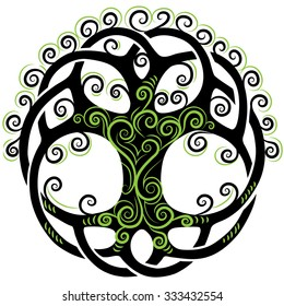 Vector ornament, decorative round Celtic tree of life with green curls