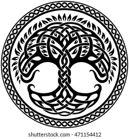 Vector ornament, decorative round Celtic tree of life with circular celtic border, back and white graphics