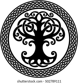 Vector ornament, decorative round Celtic tree of life with circular celtic border