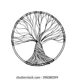 Vector ornament, decorative zentangle tree of life. Perfect for coloring books, prints, t-shirt