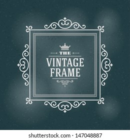 Vector ornament design element. Antique floral frame and place for text. Flourishes calligraphic.