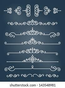 Vector ornament design elements set. Antique floral graphics template.