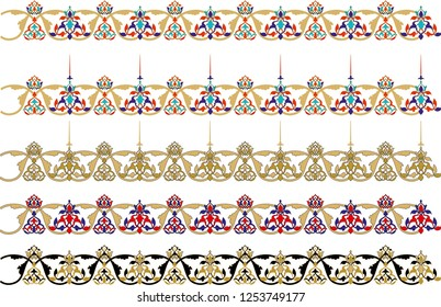 Vector ornament elements for photograph or line art frames. Ornament element for design in Ottoman style, place for text. It is used as wall decoration, dinner plate, ceramic and tile, gift card