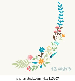 Vector ornament embroidery with bright  field flowers for textile, fabric  floral decoration.