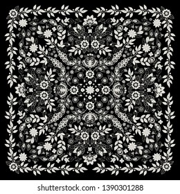 Vector ornament Embroidery floral Bandana Print, silk neck scarf or kerchief square pattern design style for print on fabric. Embroidery for fashion products.