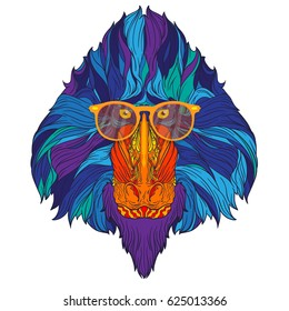 Vector ornament face of fashion mandrill monkey with yellow eyeglasses and blue hair. Line art style. Isolated on white background.