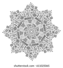 Vector ornament with flowers, hearts, stars, rounds. Doodle hand drawn coloring page for adult. Abstract illustration for anti stress coloring book. On white background.