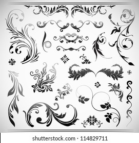 Vector Ornament Flowers Vintage Design Elements