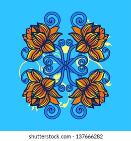 Vector Ornament Lotus. Can be use for Print of bag, t-shirt and other things. Tattoo