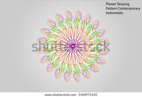 Vector Ornament Malay Flower Tanjung Pattern Contemprorary Colourful  Geometri Motif Batik