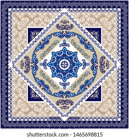 Vector ornament paisley Bandana Print. Vector ornament paisley Bandana Print. Blue Silk neck scarf or kerchief square pattern design style for print on fabric.