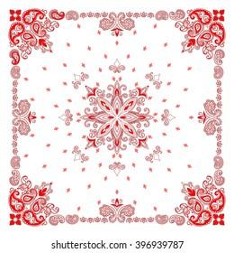 Vector ornament paisley Bandana Print, silk neck scarf or kerchief square pattern design style for fabric. Apparel art.