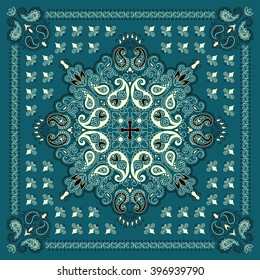 Vector ornament paisley Bandana Print, silk neck scarf or kerchief square pattern design style for fabric. Apparel art.