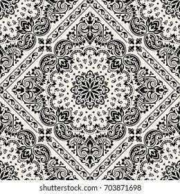 Vector ornament paisley seamless Bandana Print, silk neck scarf or kerchief square pattern design style for print on fabric.