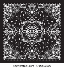 Vector ornament paisley, skulls and bones Bandana Print, fabric neck scarf or kerchief square pattern design style for print on textile.