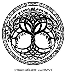 Vector ornament, round celtic tree of life