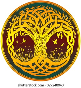 Vector ornament, yellow decorative round Celtic tree of life on dark red background