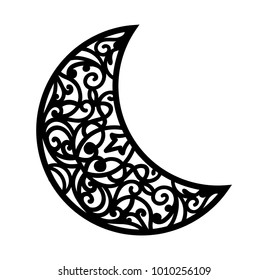 Vector ornamental crescent. Laser cut template for Christmas carved openwork moon. Silhouette with a lacy eastern pattern. Stencil for ornate vintage decoration.