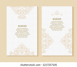 Vector ornamental decorative frame. Elegant set ornate element for design template, place for text. Luxury floral border. Lace decor for birthday and greeting card, wedding invitation,certificate.