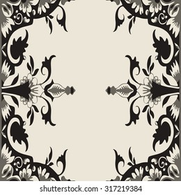Vector Ornamental Floral Frame. Black and white color. Element for design. For decorating of invitations, greeting cards, decoration for bags and clothes