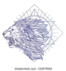 Vector ornamental Lion head with sacred geometry. Hand drawn illustration. Tattoo, astrology, alchemy, boho and magic symbol.