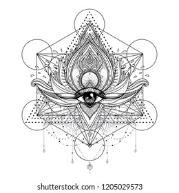 Vector ornamental Lotus flower, all-seeing eye, patterned Indian paisley. Hand drawn illustration. Invitation element. Tattoo, astrology, alchemy, boho and magic symbol.
