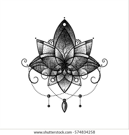 Vector ornamental lotus flower ethnic art stock vector royalty free vector ornamental lotus flower ethnic art black hand drawn illustration dotwork tattoo mightylinksfo