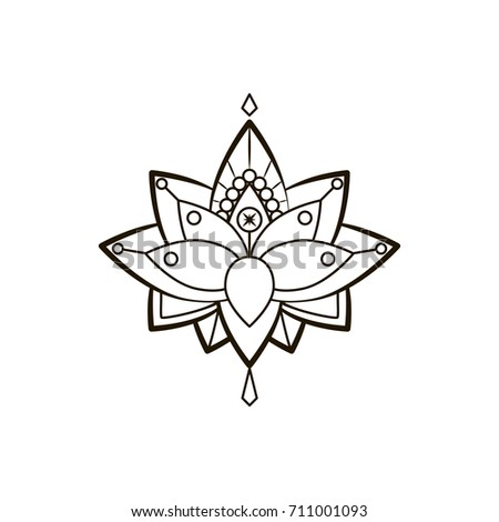 Vector ornamental lotus flower ethnic art stock vector royalty free vector ornamental lotus flower ethnic art black hand drawn illustration dotwork tattoo mightylinksfo