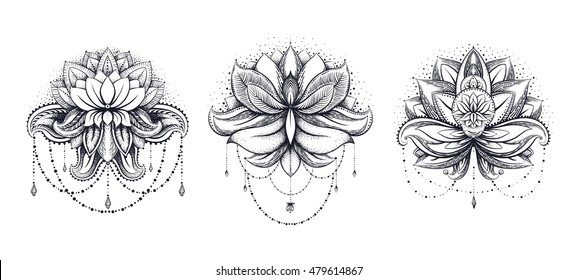 Vector ornamental Lotus set, ethnic zentangled henna tattoo, patterned Indian paisley for adult anti stress coloring pages. Hand drawn illustration in doodle style.