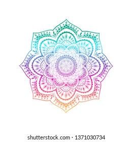Vector ornamental mandala ethnic art, patterned Indian paisley. Hand drawn rainbow colored illustration. Invitation element. Tattoo, astrology, alchemy, boho and magic symbol.