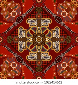Vector ornamental pattern, victorian style. Floral bouquet with ornament, colorful wallpaper