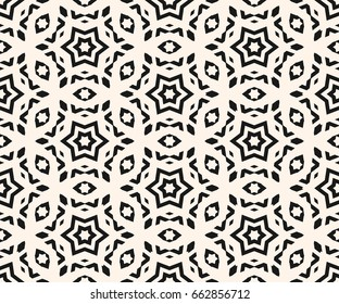 Vector ornamental seamless pattern, abstract monochrome linear texture, geometric figures, stars, rhombuses. Stylish ornament background, repeat tiles. Elegant design for prints, decor, fabric, cloth