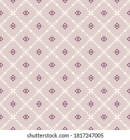Vector ornamental seamless pattern. Elegant geometric ornament texture with flower silhouettes, crosses, grid, lattice. Abstract floral background in pastel colors. Subtle repeat design for wallpaper