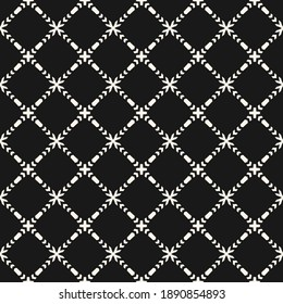 Vector ornamental seamless pattern. Elegant monochrome geometric ornament texture with small flower silhouettes, crosses, grid, mesh. Abstract black and white floral background. Dark repeat design