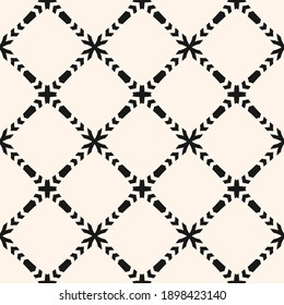 Vector ornamental seamless pattern. Elegant monochrome geometric ornament texture with flower silhouettes, crosses, grid, lattice, mesh. Abstract black and white floral background. Repeated design