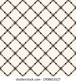 Vector ornamental seamless pattern. Elegant monochrome geometric ornament texture with small flower silhouettes, crosses, grid, lattice, mesh. Abstract black and white floral background. Repeat design