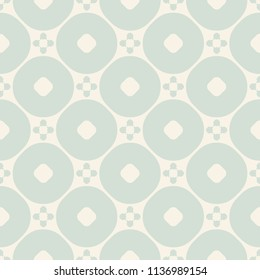 Vector ornamental seamless pattern. Vintage geometric background with flower figures, circles, repeat tiles. Texture in soft pastel colors, pale green and beige. Elegant design for decoration, textile